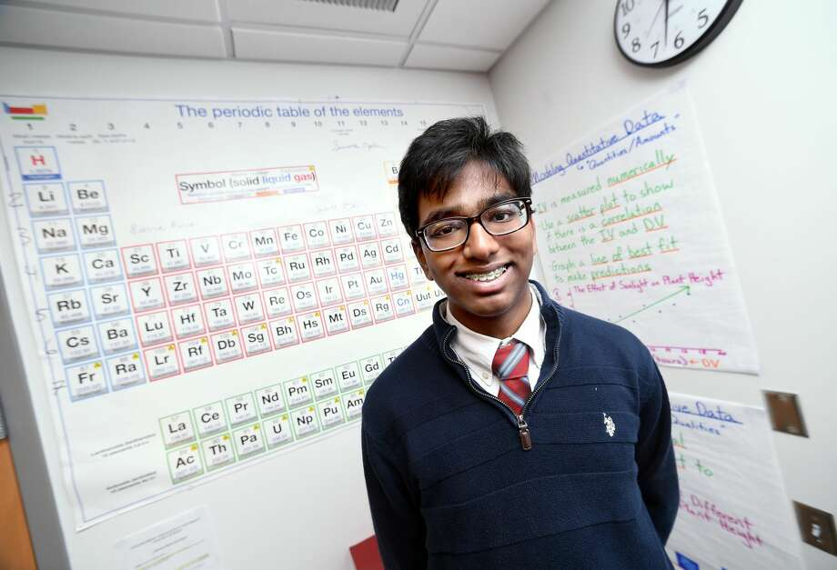 Engineering and Science University Magnet School junior Prastik Mohanraj in a chemistry classroom at the school in West Haven.