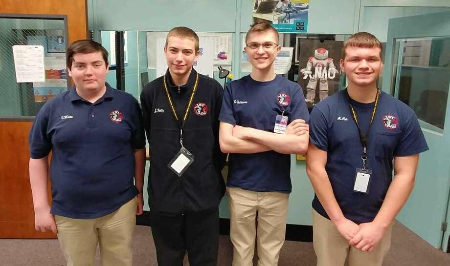 The Platt students from left to right are: Shayne White, Justin Kelly, Ethan Feldman, Austin Art.