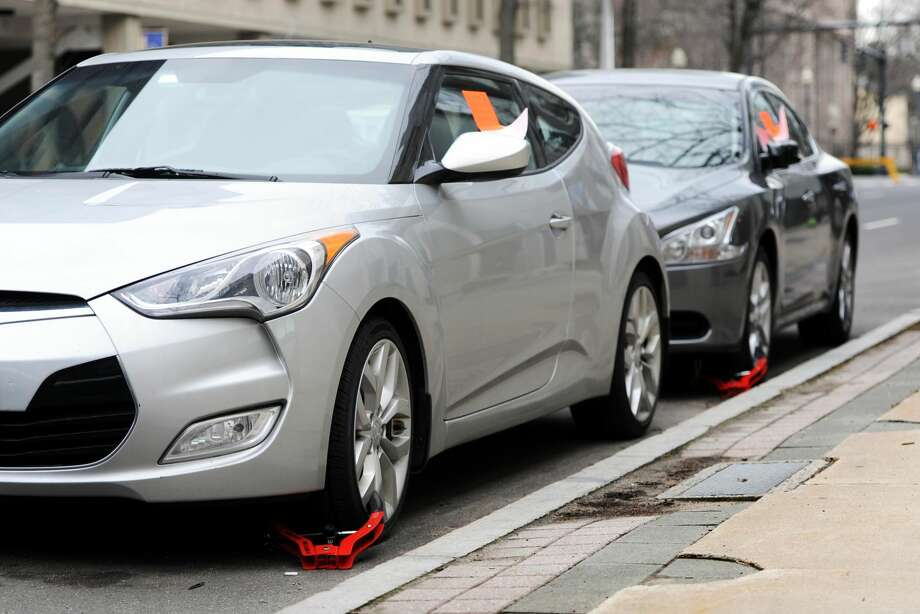 Cars on State Street in Bridgeport were booted with wheel locks.