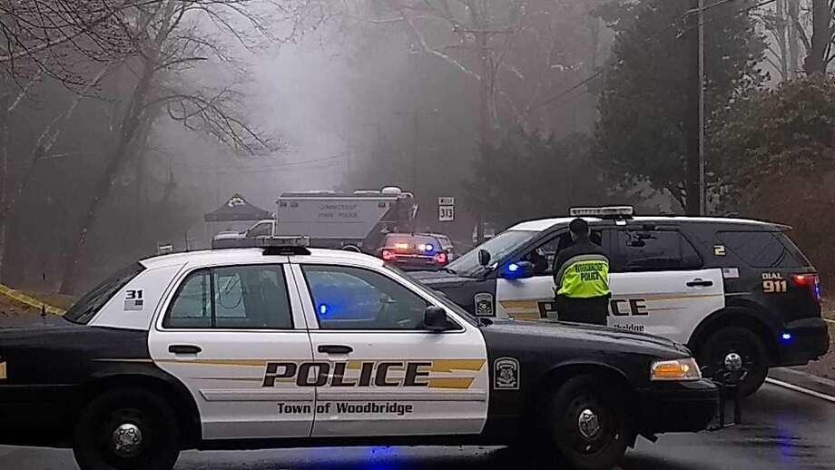 Woodbridge police block of Rimmon Road during homicide investigation.