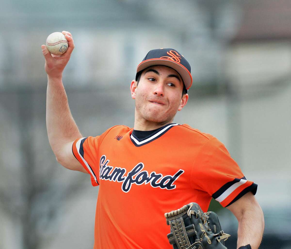 Nick Otis of Stamford pitches during the high school baseball game between Stamford High School and Foran High School at Stamford High School, Conn., Saturday, April 7, 2018. Foran won the game 8-5 over Stamford.