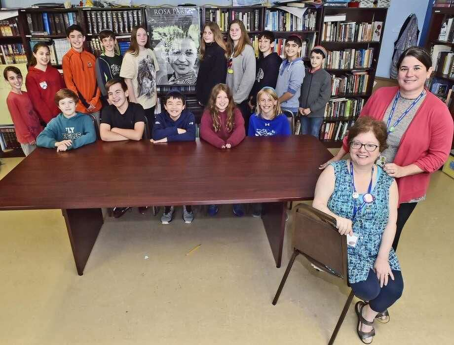 Rabbi Amanda Brodie, seated at right, and Marcy Thomaswick, team teachers who implemented the civil rights curriculum for their sixth-graders at Ezra Academy in Woodbridge.