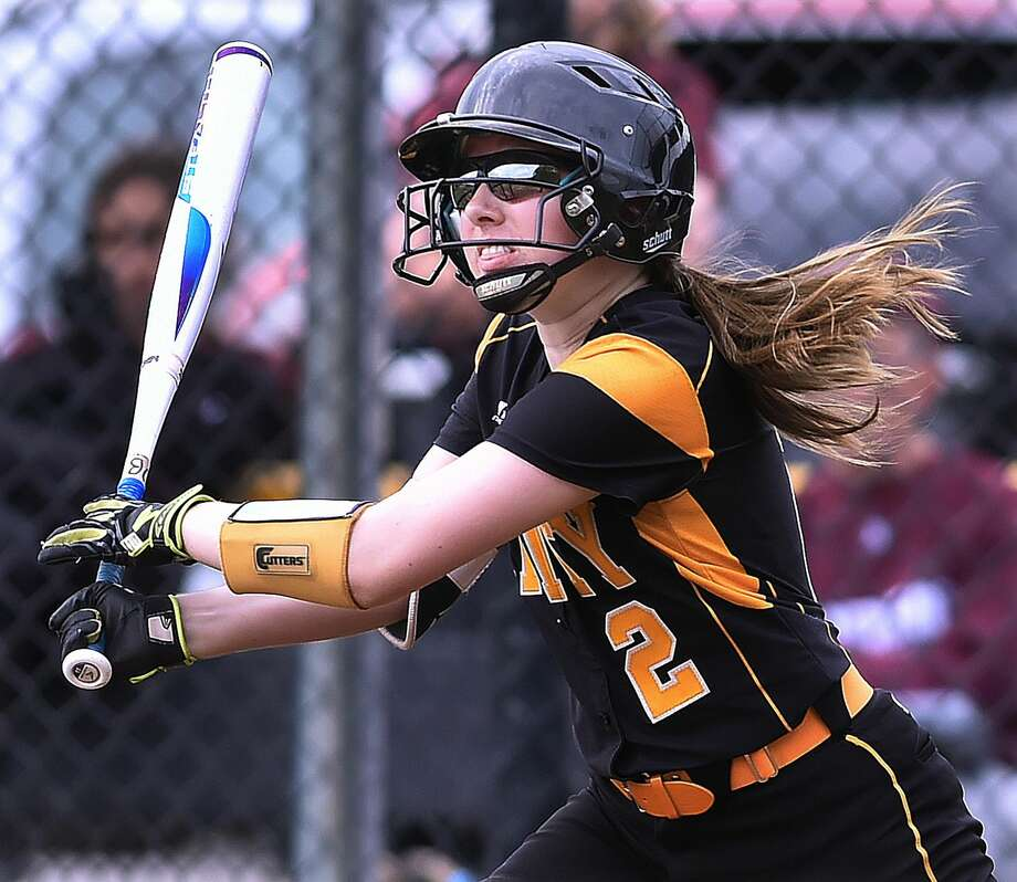 Amity's Elizabeth Brownfield drives in a run during Thursday's game against North Haven.