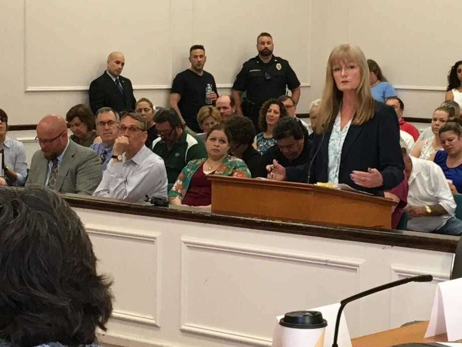 Mayor Nancy Rossi addresses the City Council before the council votes on a budget Tuesday, May 29.