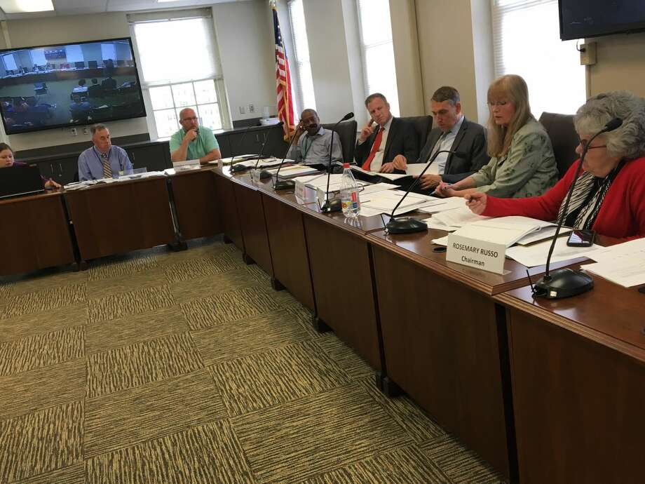 West Haven Mayor Nancy Rossi, second from right, addresses the state Municipal Accountability Review Board's West Haven Subcommittee Monday, June 5, 2018 in West Haven City Hall.