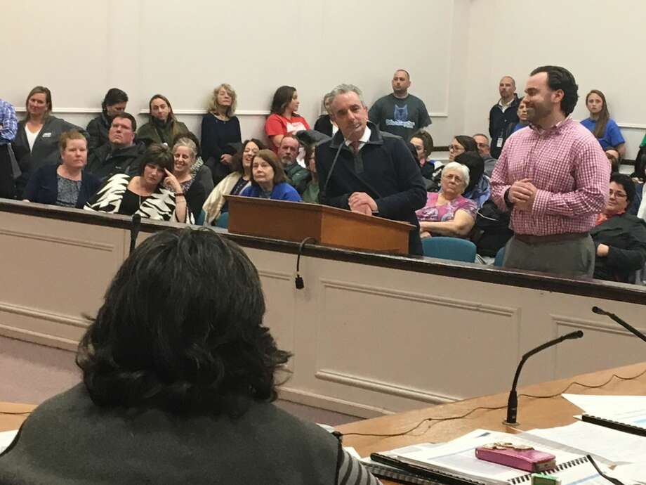 West Haven Superintendent of Schools Neil Cavallaro, center, addresses the City Council during a council budget hearing in April.