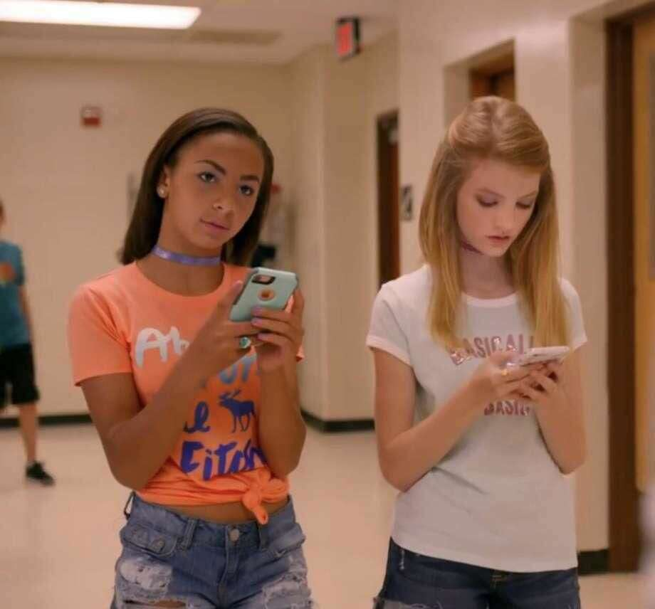 "Screen shot from the movie ""Eighth Grade"" publicity trailer of Nora Mullins and unidentified co-star."