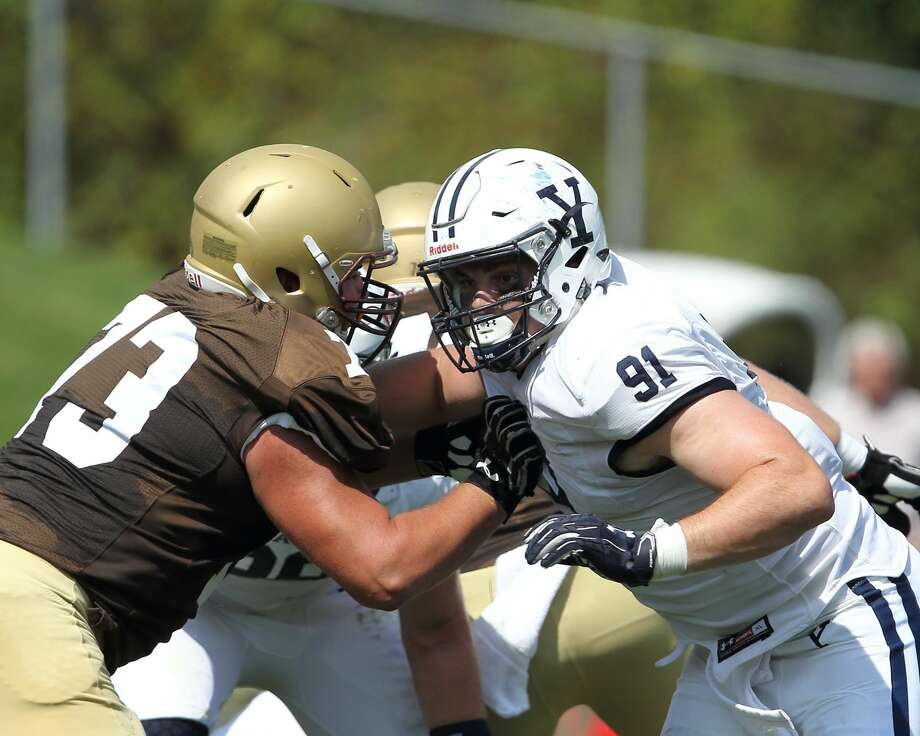Nicholas Crowle (91), a fifth-year senior defensive tackle, has been voted the new captain of the Yale football team.