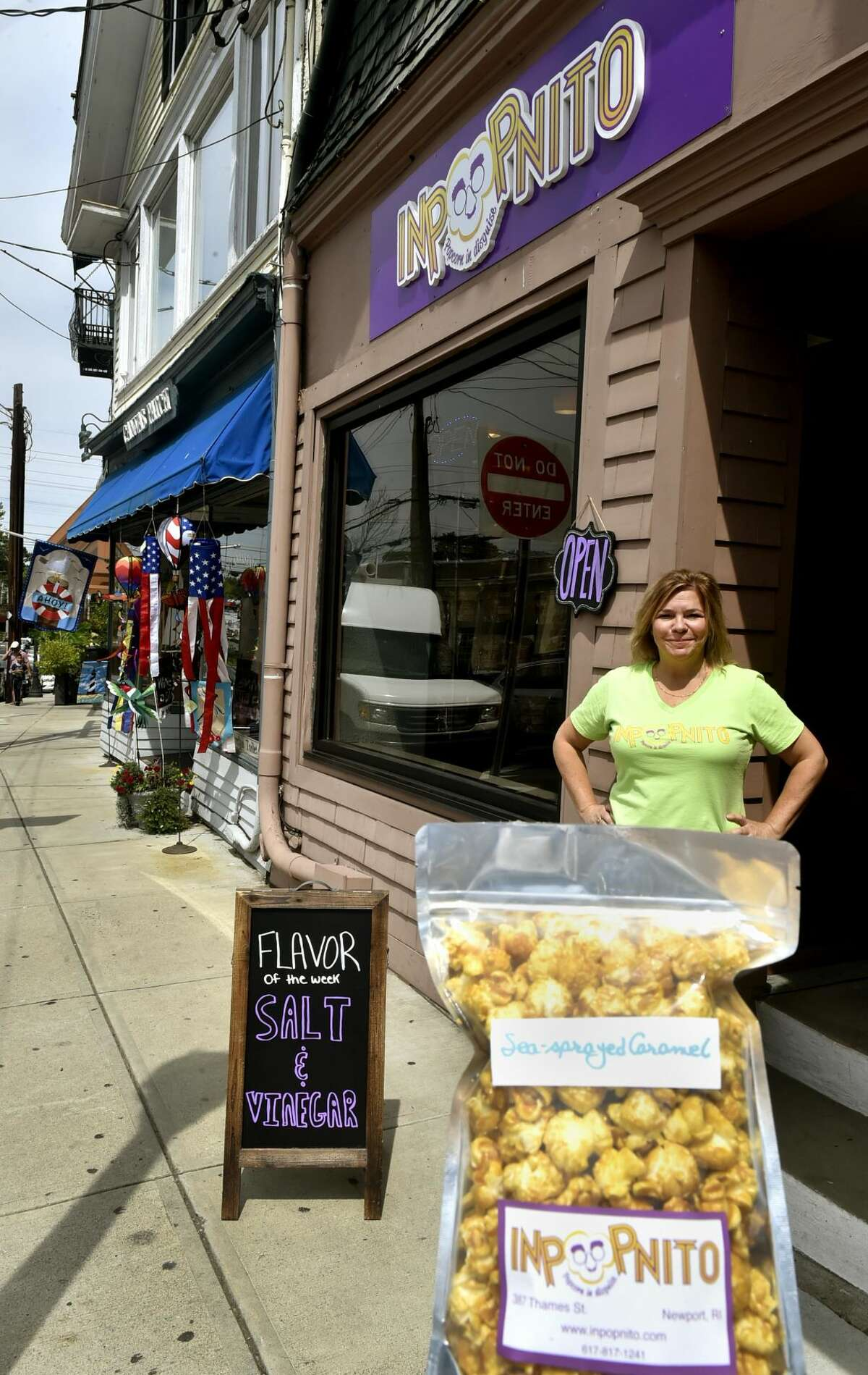 Stephanie Dudding in front of her shop, Inpopnito.
