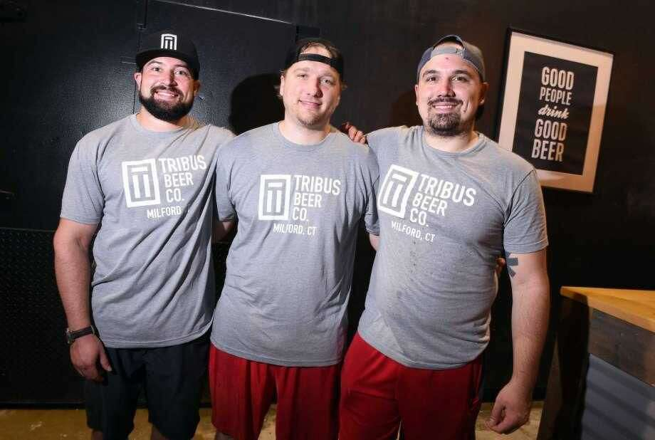 From left, Tribus Beer Company owners Sean O'Neill, Matt Weichner and Sebastian D'Agostino at their beer brewery and tap room in Milford.