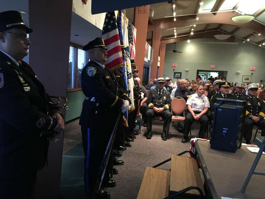 Bugler Kevin McKeon, left, members of the West Haven Police Color Guard and other first responders at West Haven's 17th Anniversary of the Sept. 11, 2001 terrorists attacks in the Savin Rock Conference Center in West Haven.