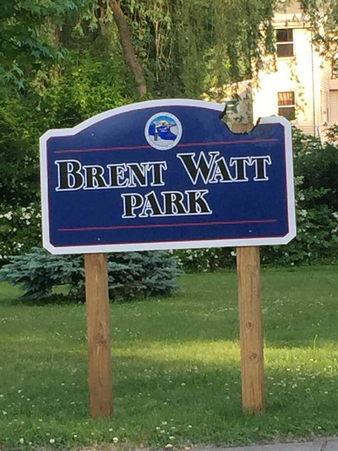 A fundraiser to raise money to repair vandalism damage at Brent Watt Park in West Haven's Allingtown section raised enough money to meet its goal in just three days. Pictured: the vandalized sign.