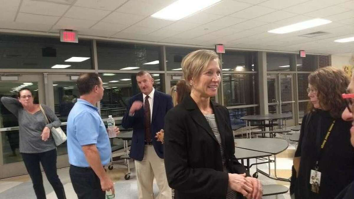 The Amity Board of Education chose Jennifer Pallon Byars as the new superintendent of schools Wednesday, Sept. 26. After the meeting, Pallon Byars chatted with board and school officials at a reception.