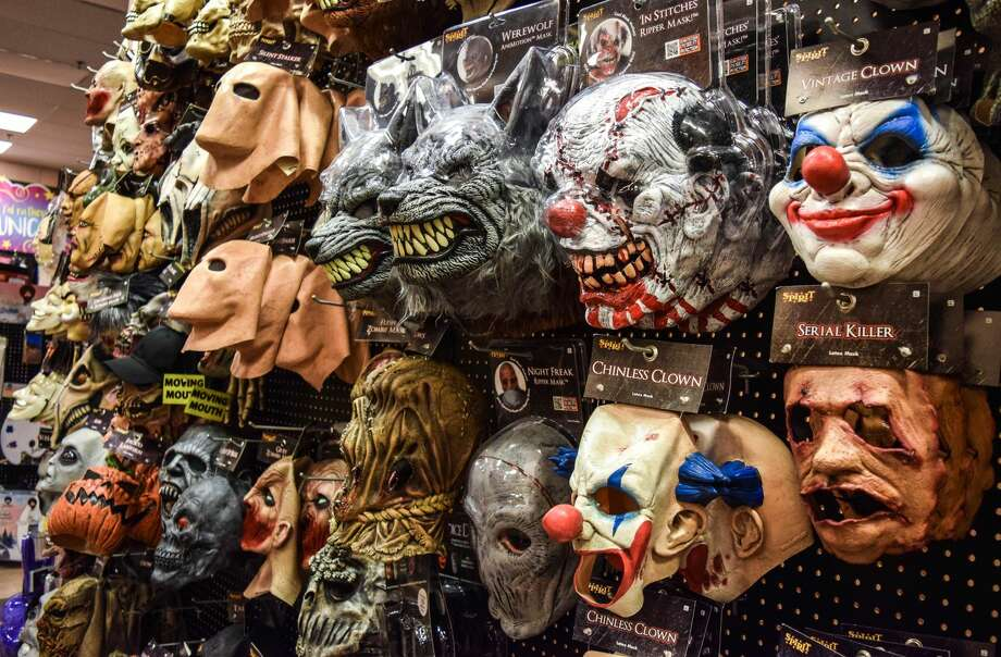 Spirit Halloween, in the Staples Plaza at 848 Washington St., Middletown, offers a wide array of costume possibilities for Halloween, including an entire wall of rubber face masks.