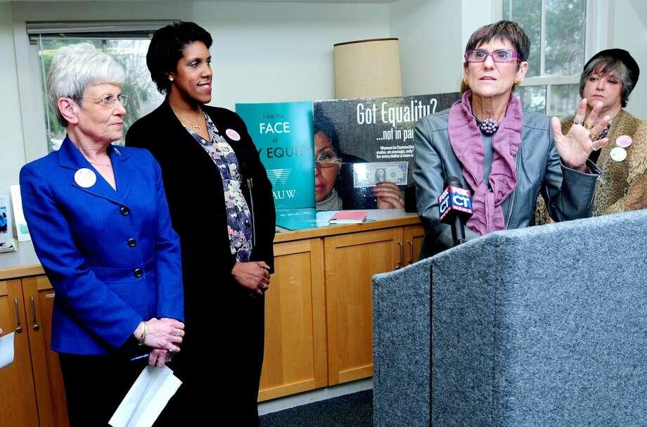 U.S. Rep. Rosa DeLauro (D-Conn.) speaks in 2011 on the issue of pay equity for women, in Guilford, Conn. alongside Lt. Gov. Nancy Wyman (D-Conn.), left.
