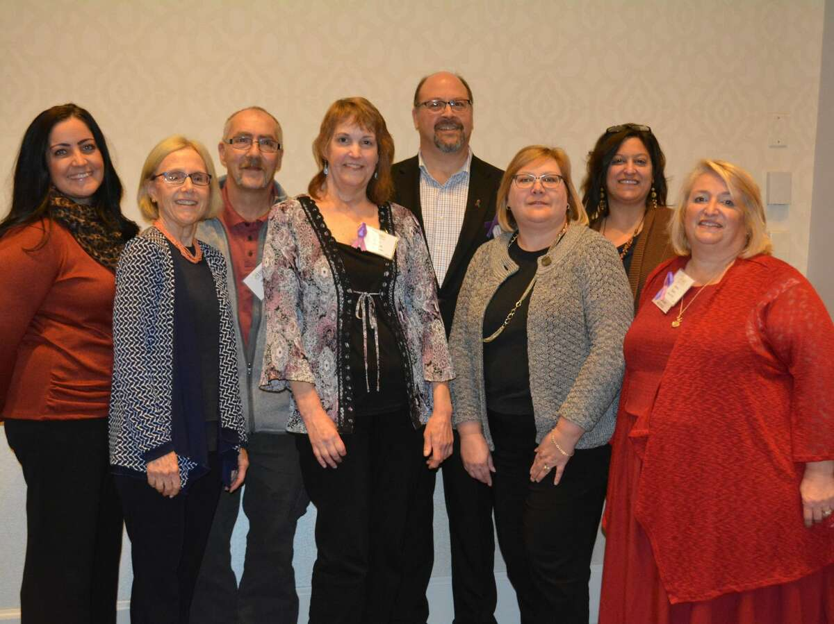 Staff members and awardees gathered for a group picture following the awards ceremony. From left are: Maria Salomone, Susan B. Anthony Project Board Vice President, Nancy Boland, Susan B. Anthony Project Vice President, Michael Motuzick, spouse of Tracey Motuzick, a Crusader Awardee, Mark Famiglietti, Susan B. Anthony Project Board President, Cheryl Wallace, Director of Finance Susan B. Anthony Project, Gina Devaux, Director of Development Susan B. Anthony Project, Jeanne Fusco, Executive Director, Susan B. Anthony Project.
