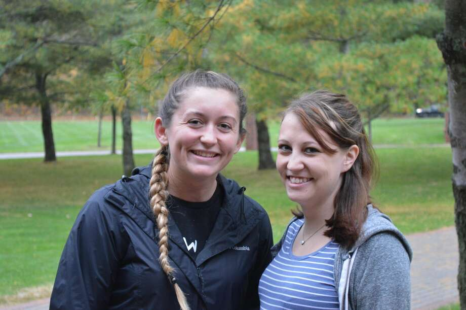 Kathleen Lekko, a Marine Corps veteran, and Beth Carlin, a veteran of the U.S. Army, attend at Quinnipiac University.