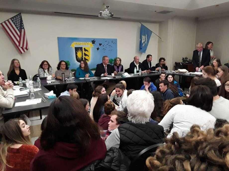 A school board meeting at Amity High School in Woodbridge on Nov. 12.