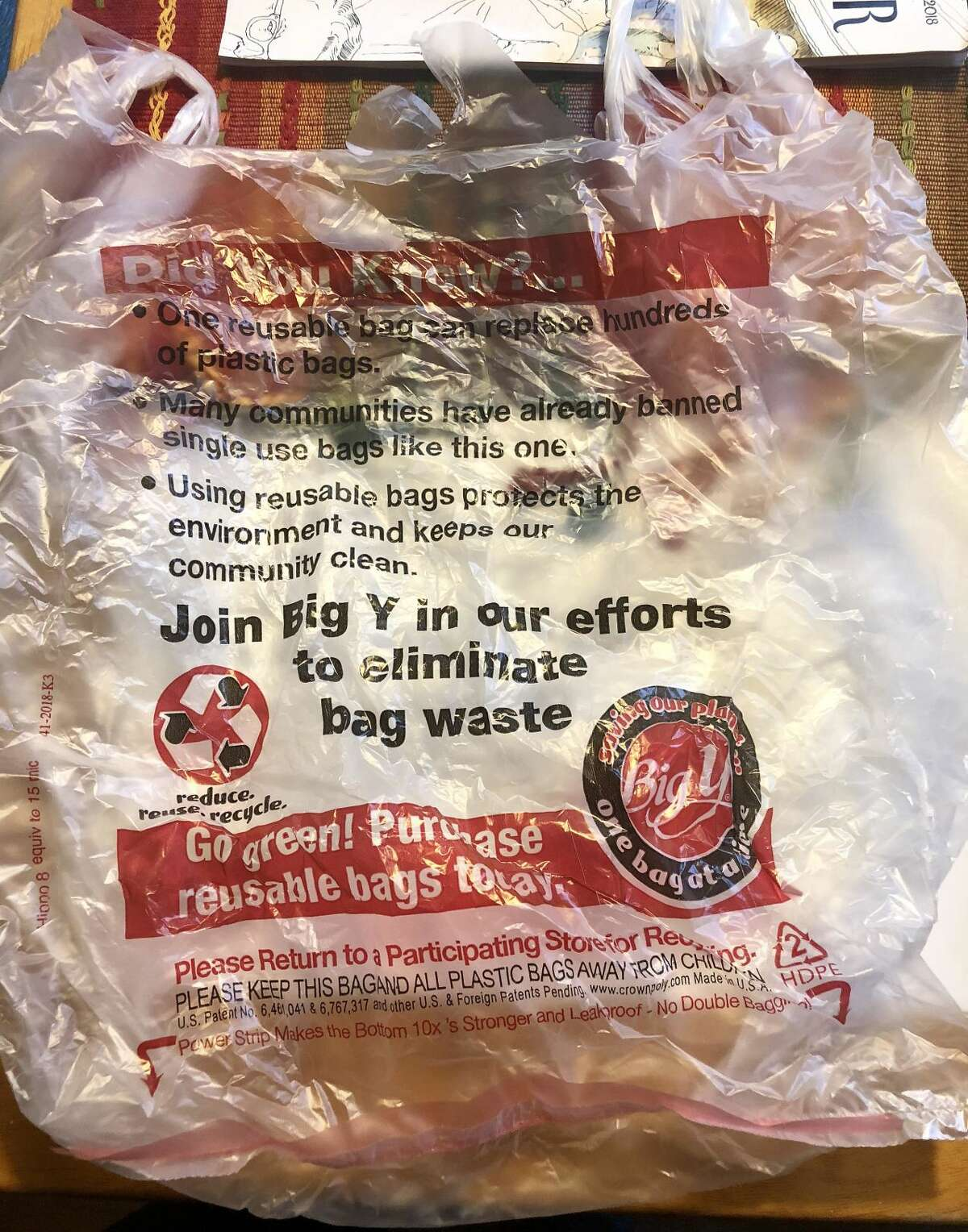 Voluntary compliance measures taken by Big Y in Branford to encourage shoppers toward use of reusable bags that in part prompted BYO Branford's proposed ordinance