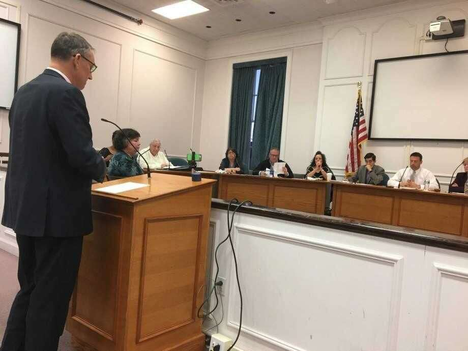 Connecticut Office of Policy & Management Secretary and MARB Chairman Benjamin Barnes addresses the West Haven City Council before it voted on the city's proposed 5-year fiscal plan on Monday, Oct. 29.
