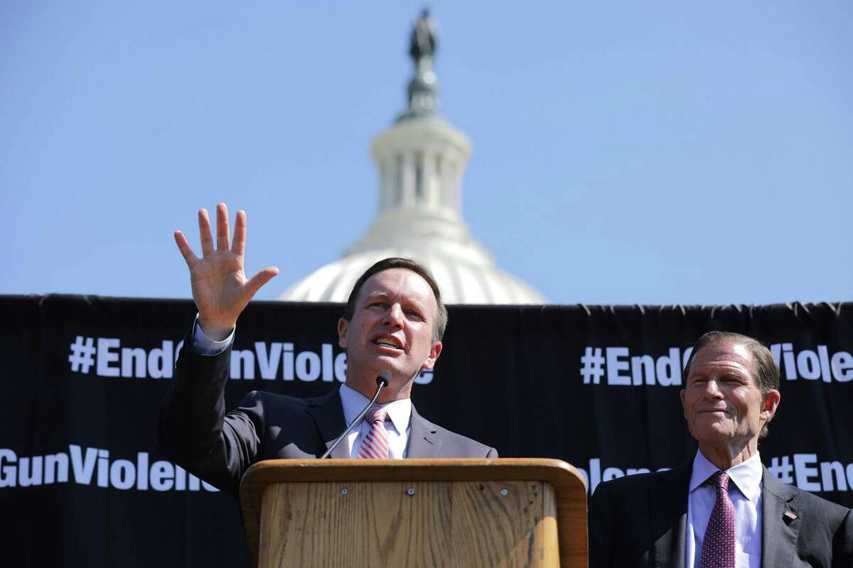 Sen. Chris Murphy (D-CT) (L) and Sen. Richard Blumenthal (D-CT) address the National Rally to End Gun Violence on the West Lawn of the U.S. Capitol September 25, 2019, in Washington, DC.