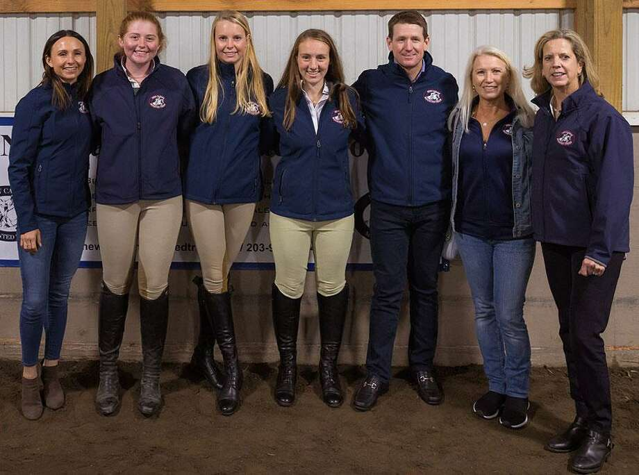 The New Canaan Mounted Troop held the first-of-its-kind-behind-the-scenes interview series with Professional Equestrian Georgina Bloomberg, and Olympic Medalist McLain Ward as guests on Tuesday, Oct. 8, 2019, at the location for the equine organization, which is also a horse riding school, at 22 Carter St. in New Canaan, Connecticut as it began celebrating its 80th anniversary. Pictured are: Georgina Bloomberg, Troopers Megan Rigione, Brynn McClymont and Georgia Stewart, McLain Ward, Clea Newman Soderlund and New Canaan Mounted Troop Executive Director Sara Tucker. Photo: New Canaan Mounted Troop Executive Director Sara Tucker / Contributed photo Photo: New Canaan Mounted Troop Executive Director Sara Tucker / Contributed Photo / TomiraWilcox.com