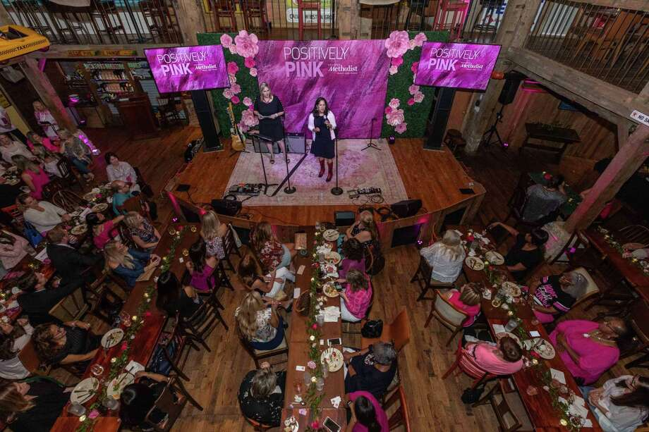 Dr. Magda Ghobashy, medical director of Houston Methodist Breast Care Center at The Woodlands, discusses the importance of annual mammograms at Positively Pink held at Dosey Doe - The Big Barn on October 2. Photo: Photo Courtesy Houston Methodist Breast Care Center / RICHARD CARSON / ©2019 Richard Carson
