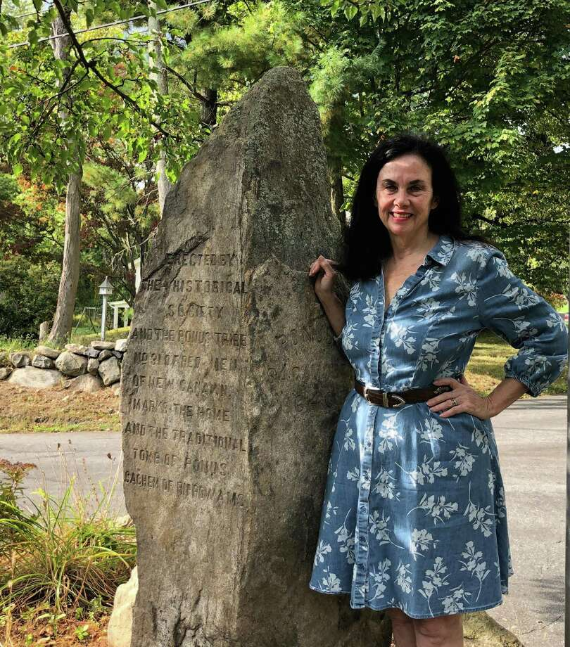 Patricia Funt Oxman next to the Ponus Monument. Photo: Contributed Photo.