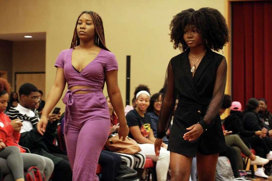 The ECSU student organization Fashion Forward put on a mini fashion show to honor Alyssiah Wiley's reputation as a fashionista. Photo: Mike Rouleau / Contributed /