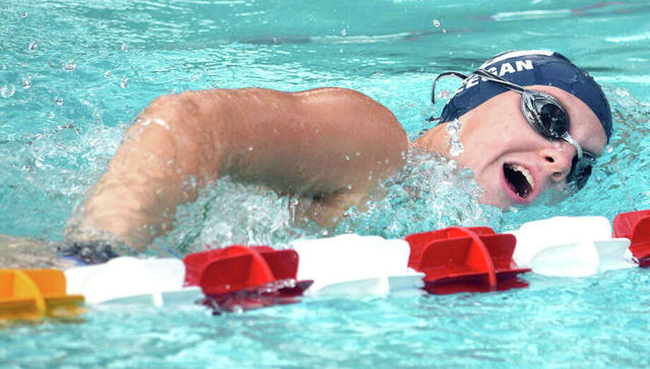 Edwardsville's Allison Naylor won the 200-yard individual medley and the 100-yard freestyle in her team's dual-meet victory over Chatham Glenwood Thursday in Springfield. Photo: Pete Hayes | The Telegraph