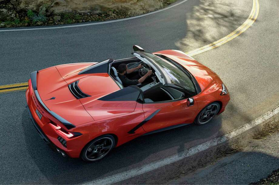 From high above it's easy to spot the 2020 Corvette Stingray convertible's buttresses and tonneau cover. Photo: Chevrolet