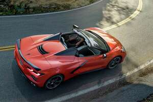 From high above it's easy to spot the 2020 Corvette Stingray convertible's buttresses and tonneau cover.