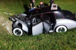 A driver behind the wheel of a vintage 1953 Bentley slammed into a culvert of a ditch near First and Church streets on Friday, Oct. 11, 2019, totaling the vintage car.