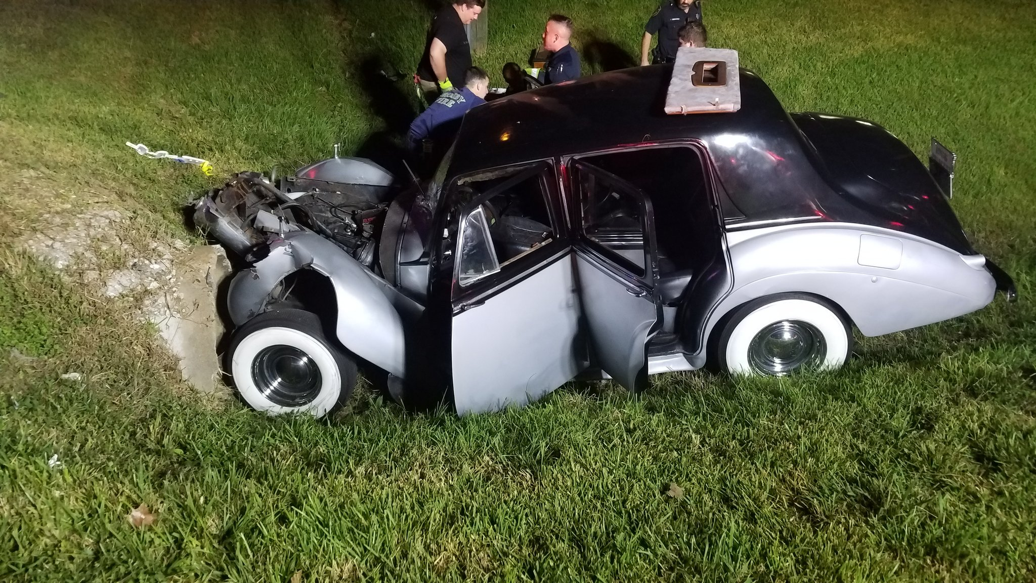 Vintage Bentley totaled in crash near Crosby