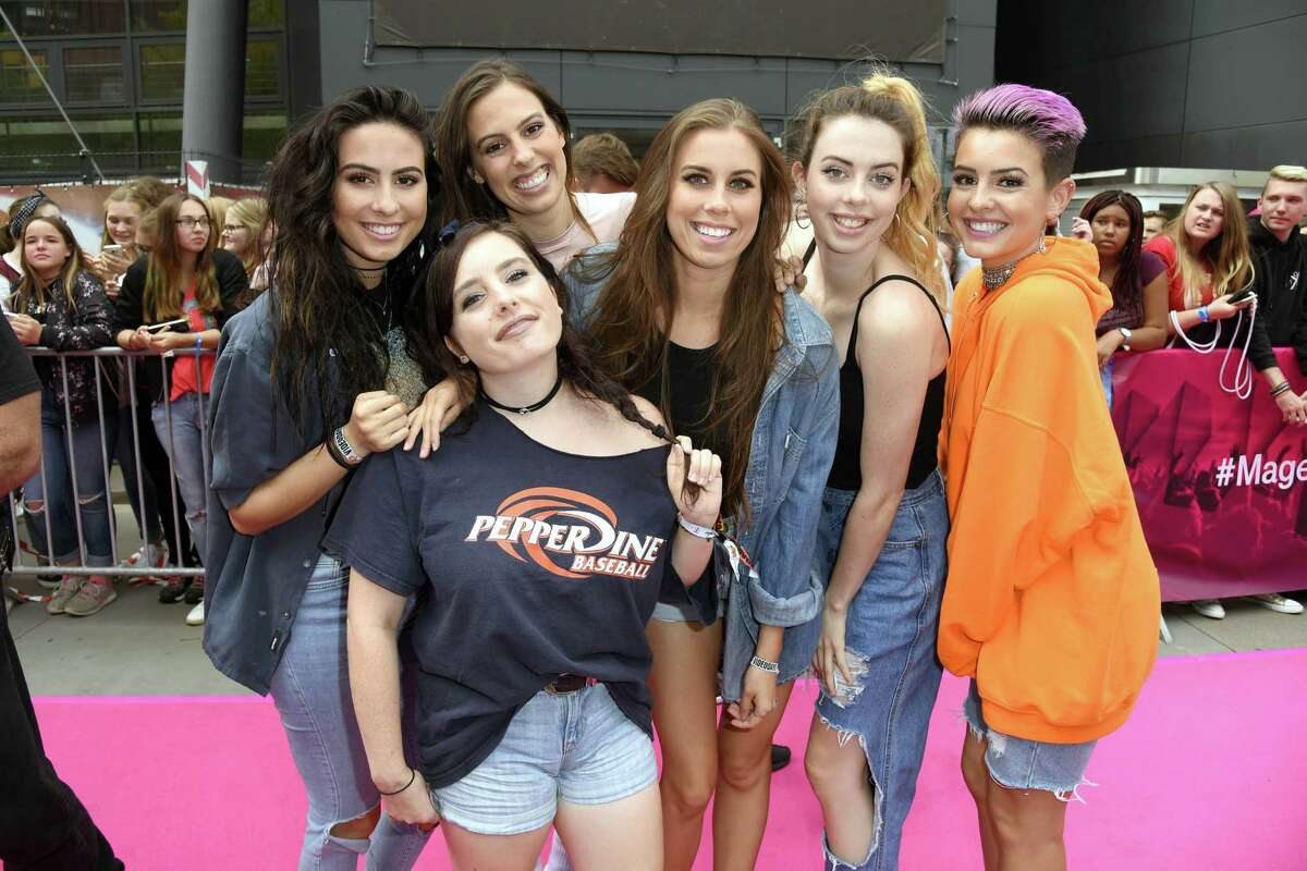 From left, Christina Lynne Cimorelli, Katherine Ann Cimorelli, Lisa Michelle Cimorelli, Amy Elizabeth Cimorelli, Lauren Christine Cimorelli and Danielle Dani Nicole Cimorelli of the band Cimorelli at an event in Germany in 2017.