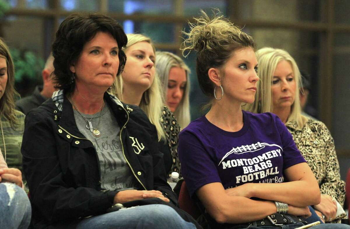 Montgomery residents listen as Jim Dossey, president of the Montgomery ISD Board of Trustees, speaks during a special meeting of the Montgomery ISD Board of Trustees at the MISD Education Support Center, Friday, Oct. 11, 2019, in Montgomery. Montgomery High School forfeited its varsity football game set for Friday against Huntsville High School as the investigation into possible hazing among members of the school's football team continues. The investigation was turned over from the Montgomery ISD Police Department to the Montgomery County Sheriff's Office last week.