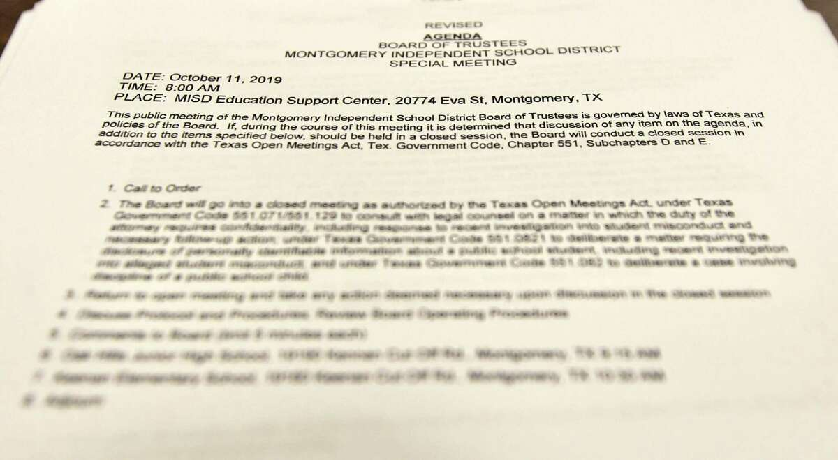 Detail of the agenda for a special meeting of the Montgomery ISD Board of Trustees at the MISD Education Support Center, Friday, Oct. 11, 2019, in Montgomery. Montgomery High School forfeited its varsity football game set for Friday against Huntsville High School as the investigation into possible hazing among members of the school's football team continues. The investigation was turned over from the Montgomery ISD Police Department to the Montgomery County Sheriff's Office last week.