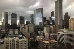 Clouds move into downtown as a cold front arrives Thursday, Oct. 11, 2019 in Houston.