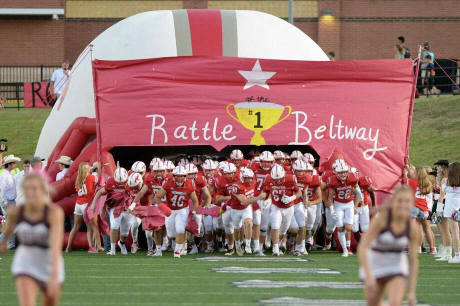The Memorial Mustangs take the field for a 6A Region III District 17 football game with the Stratford Spartans on Friday, October 10, 2019 at Tully Stadium, Houston, TX. Photo: Craig Moseley, Houston Chronicle / Staff Photographer / ©2019 Houston Chronicle