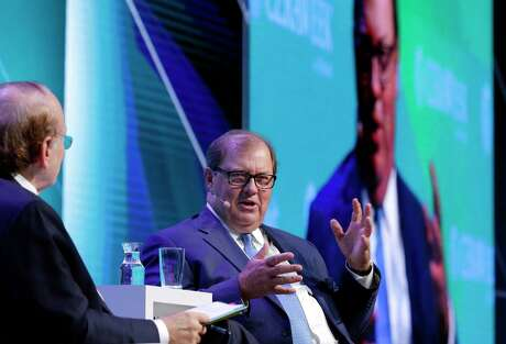 Daniel Yergin, left, Vice Chairman of IHS Market talks with Gary Heminger, right, Chairman and CEO of Marathon Petroleum Corp. during a Leadership Dialoge session on the second day of CERAWeek by IHS Markit at the Hilton Americas-Houston Hotel Tuesday, Mar. 12, 2019 in Houston, TX.