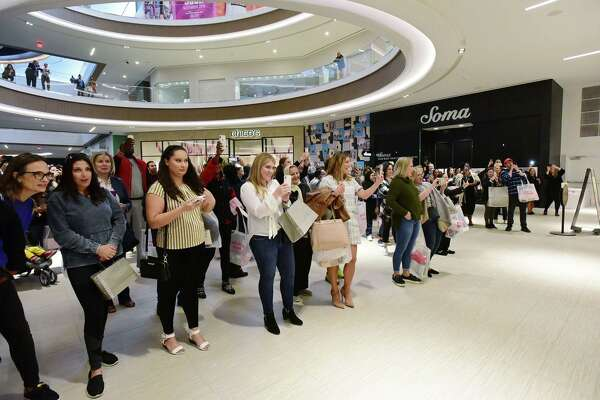 Customers line up for Nordstrom's opening following their Beauty Bash and Opening Pre Party as The SoNo Collection mall officially opens Friday, October 11, 2019, in Norwalk, Conn.