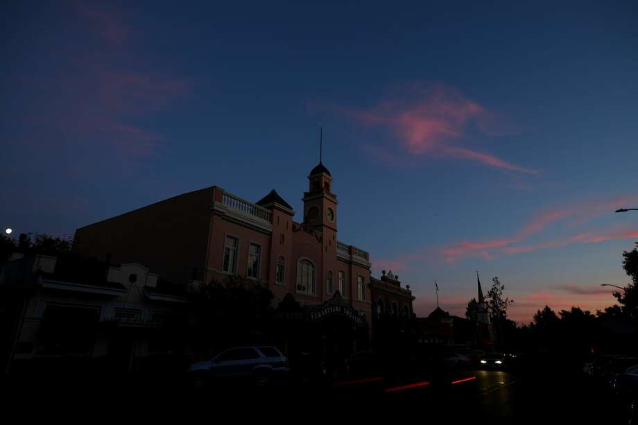 The Sebastiani Theatre and much of downtown remained dark on October 10, 2019 in Sonoma, California.  Power outages were scheduled as preemptive moves by PG&E to address hot, dry and windy weather and the risk of wildfires, according to the company.  (Photo by Ezra Shaw/Getty Images) Photo: Ezra Shaw/Getty Images