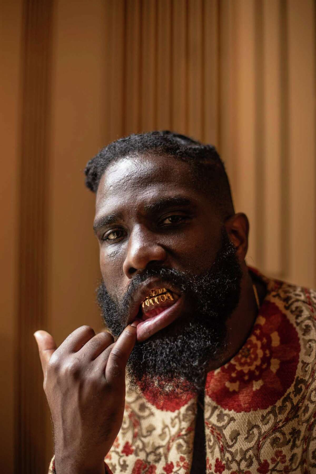 Tobe Nwigwe poses for a portrait on the set of his video shoot at the Rienzi museum and art gallery on Wednesday August 28, 2019 in Houston.
