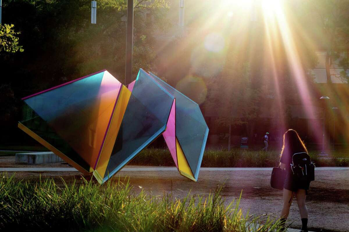 """Passers-by can walk around or through Marta Chilindron's new """"Mobius Houston"""" sculpture, the first work commissioned for University of Houston's new temporary public art program."""
