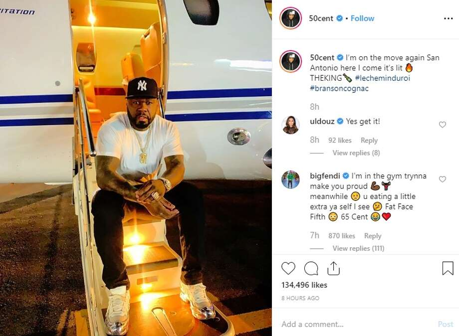 Rapper 50 Cent is back in San Antonio and he wants his fans to know as he shared multiple photos of his arrival on social media Friday. Photo: Instagram: @50cent