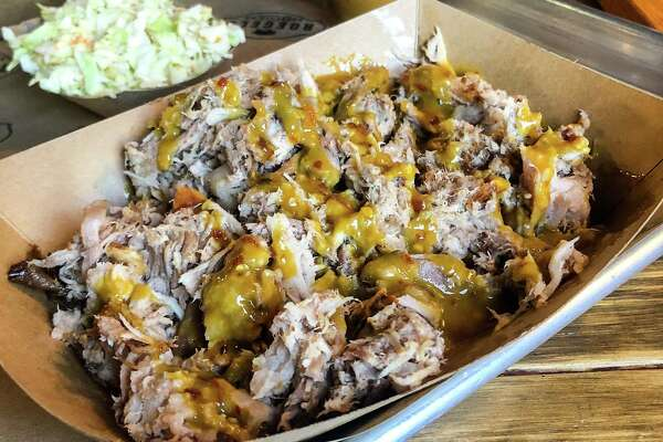 "Chopped pork with ""Carolina gold"" mustard sauce at Roegels Barbecue Co."