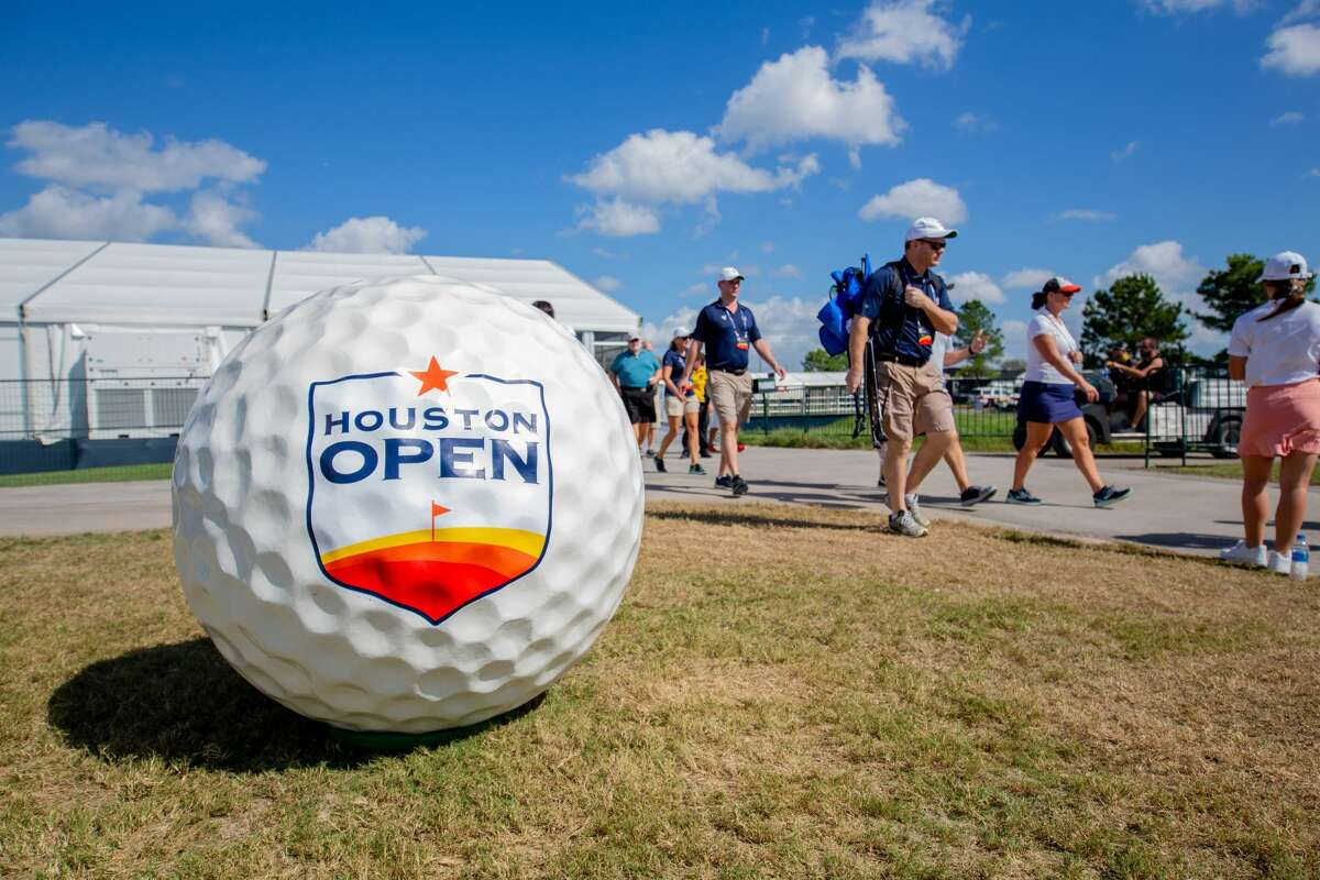 Giant golf ball on display at the entrance during the Houston Open, First Round at the Golf Club of Houston on Thursday, October 10, 2019 in Humble, Texas.