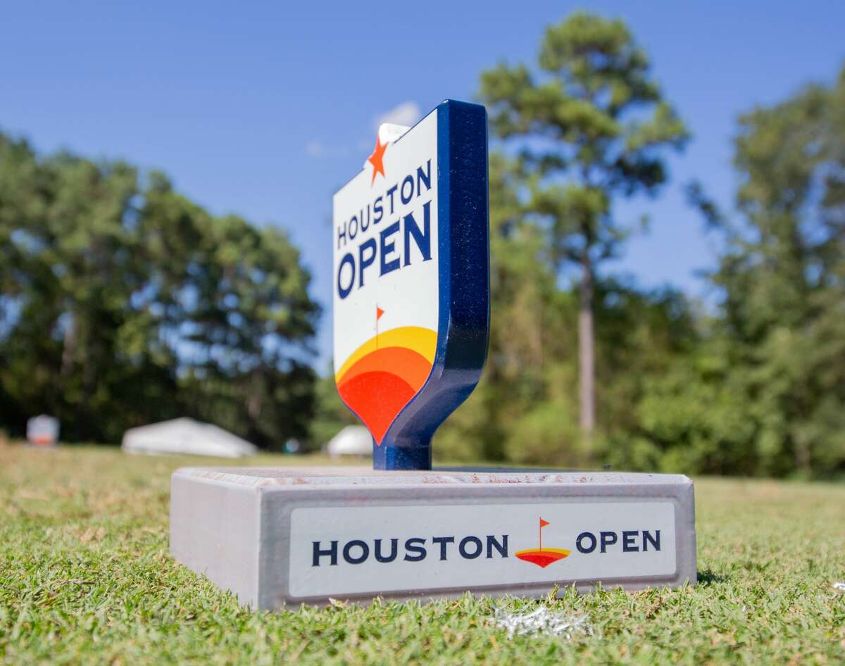 Houston Open logo on the fifth tee during the Houston Open, First Round at the Golf Club of Houston on Thursday, October 10, 2019 in Humble, Texas.