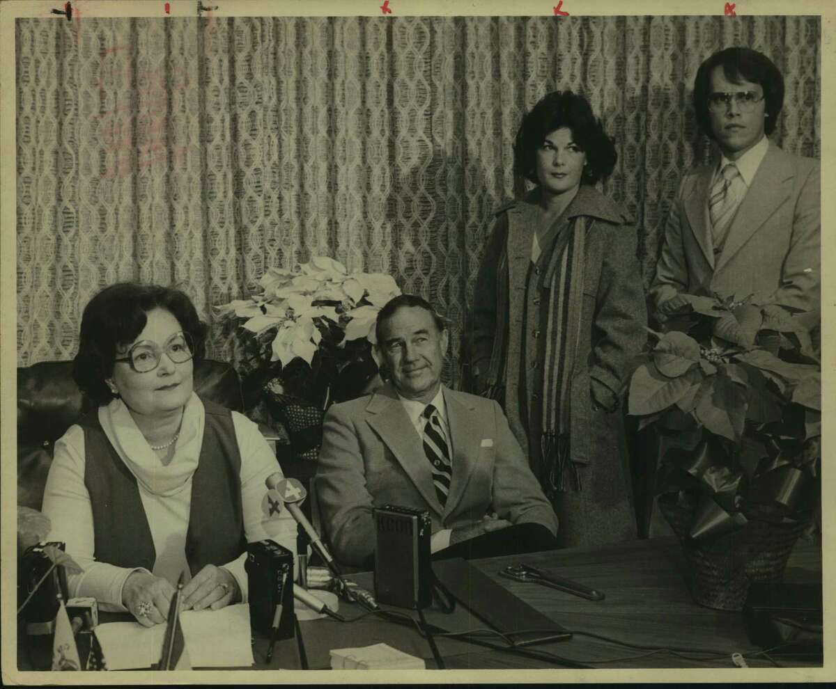 San Antonio Mayor Lila Cockrell at a press conference with her husband Sid, their daughter Carol Gulley and her husband Robert Gulley.