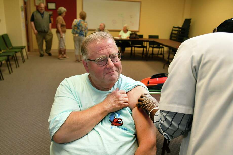 Wayne Parcel, of Cypress, gets a Shingles vaccination at Cypress United Methodist Church on Oct. 10, 2019. Photo: Jerry Baker, Houston Chronicle / Contributor / Houston Chronicle